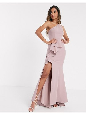JARLO one shoulder ruffle maxi with thigh split in blush-pink