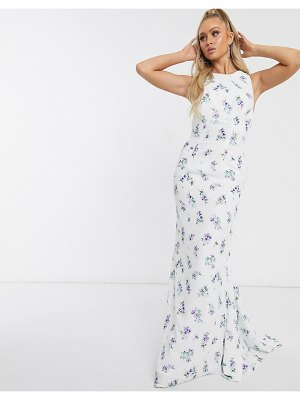 JARLO open back maxi dress in blue floral