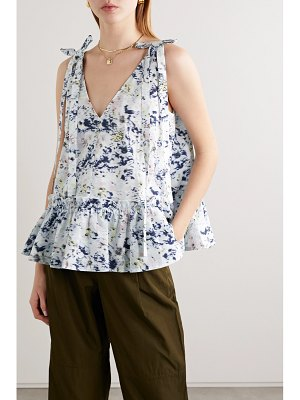 Jason Wu bow-detailed printed cotton peplum top
