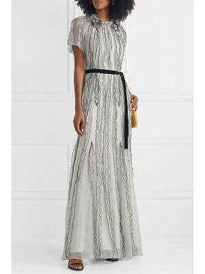 Jason Wu Collection belted ruffled polka-dot silk-crepon gown