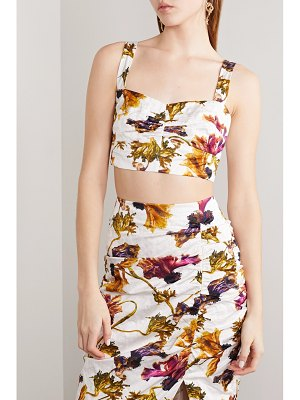 Jason Wu Collection cropped ruched floral-print washed-sateen bustier top
