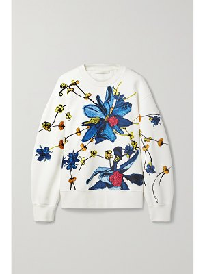 Jason Wu Collection embroidered floral-print cotton-blend jersey sweatshirt