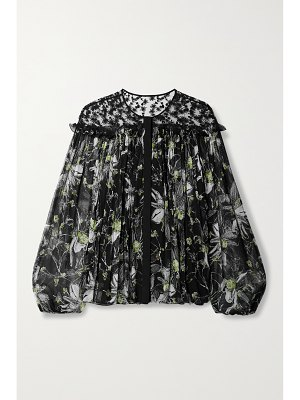 Jason Wu Collection embroidered floral-print tulle and silk-crepon blouse