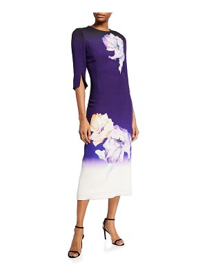 Jason Wu Collection Ombre Flower-Printed Crepe Midi Dress