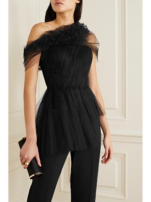 Jason Wu Collection one-shoulder ruffled gathered tulle peplum top
