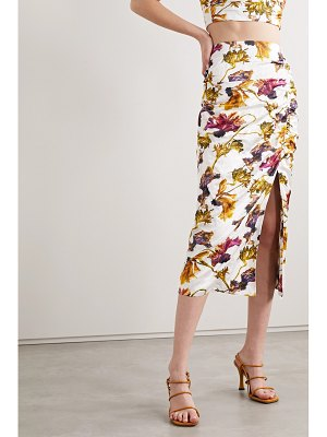 Jason Wu Collection ruched floral-print washed-sateen midi skirt