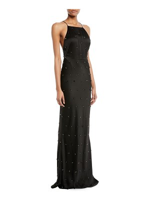 Jason Wu Crepe-Back Satin Embellished Column Evening Gown