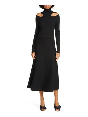 Jason Wu cutout long sleeve merino wool midi sweater dress