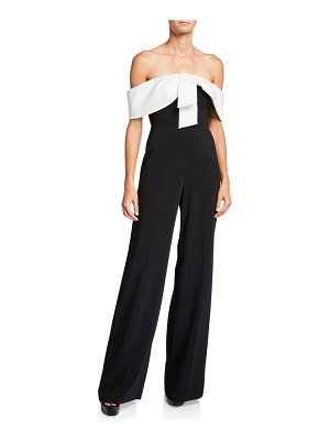 Jay Godfrey Gaggi Colorblock Off-the-Shoulder Jumpsuit