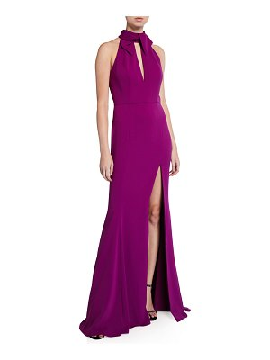 Jay Godfrey Keyhole Stretch Crepe Halter Gown with Slit