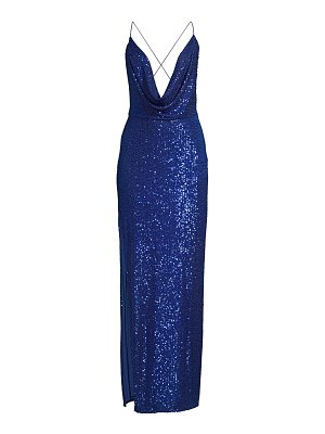 Jay Godfrey milena sequin plunging cowlneck gown