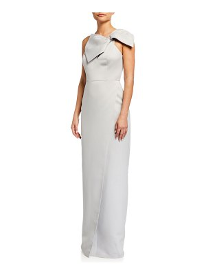 Jay Godfrey Muir One-Shoulder Wrap Column Gown with Bow Detail