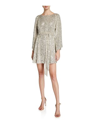 Jay Godfrey Sequin Mesh Bateau-Neck Flare-Sleeve Belted Mini Dress