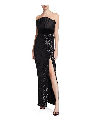 Jay Godfrey Strapless Gown with Sequin Column Skirt