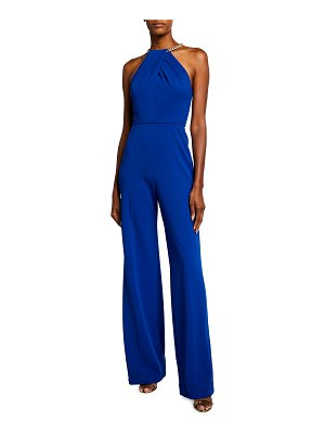 Jay Godfrey Zinnia Twisted Halter-Neck Jumpsuit with Chain Detail
