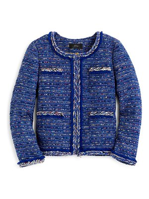 J.Crew braided trim multicolor cobalt tweed lady jacket