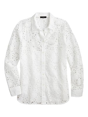 J.Crew embroidered eyelet long sleeve button-up shirt