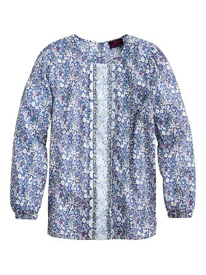 J.Crew liberty mix floral long sleeve scallop blouse