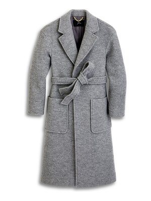 J.Crew long wrap coat in italian boiled wool