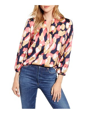 J.Crew midnight floral open v-neck top