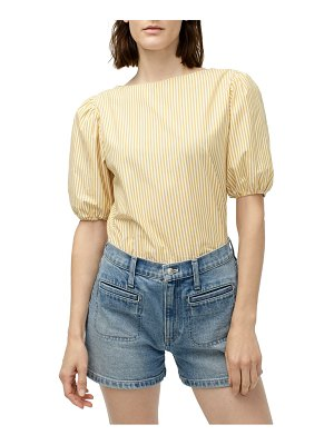J.Crew stripe boat neck puff sleeve top