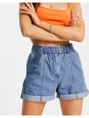 JDY athena belted denim shorts with seam detailing in blue-blues