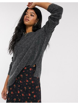 JDY brushed rib sweater in gray