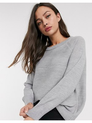 JDY crew neck ribbed sweater in gray