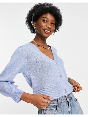 JDY knitted puff sleeve crystal button cardigan in pale blue-blues