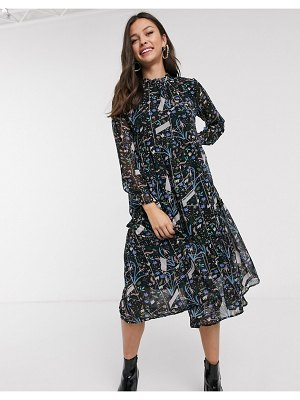 JDY midi dress in abstract floral print-multi