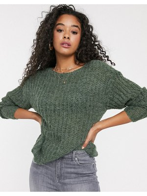 JDY open knit sweater in green-cream