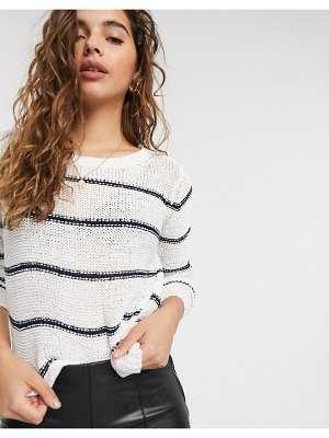 JDY open knit sweater in stripe-multi