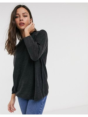 JDY ribbed sweater with crew neck in dark gray melange