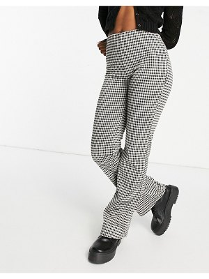 JDY set jersey flared pants in check-multi
