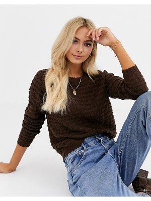 JDY textured cable sweater in brown