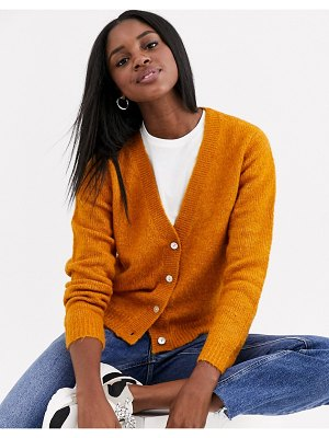 JDY textured cardigan in mustard-yellow