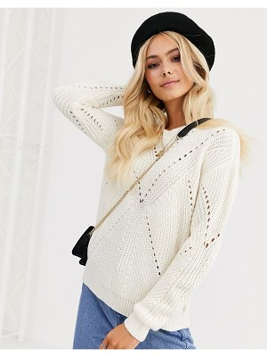 JDY textured sweater in cream-white