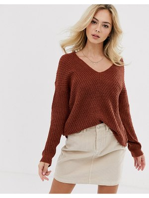 JDY v-neck rib knitted sweater-brown