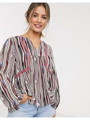 JDY v neck smock blouse in mixed stripe print-multi