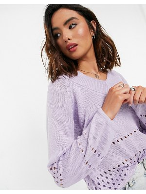 JDY v-neck sweater in lilac-purple
