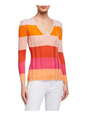 JED Paintbox Striped Multi-Rib V-Neck Sweater