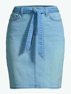 Jen7 belted denim pencil skirt