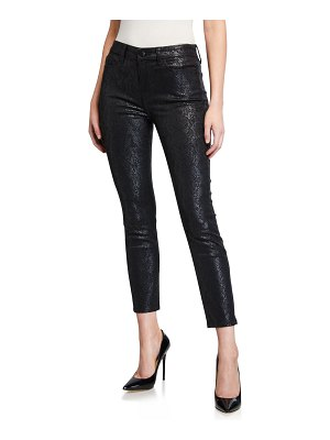 Jen7 Coated Printed Ankle Skinny Jeans