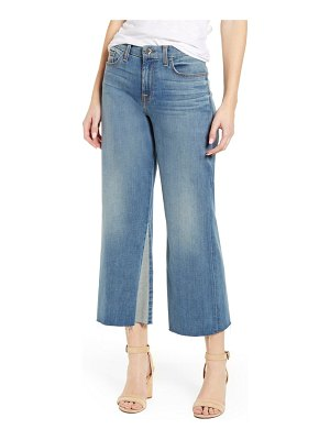 Jen7 high waist contrast panel crop wide leg jeans
