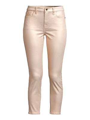 Jen7 metallic coated ankle skinny jeans
