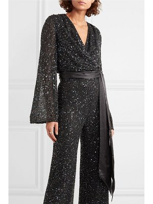Jenny Packham albany silk-satin trimmed sequined chiffon wrap top
