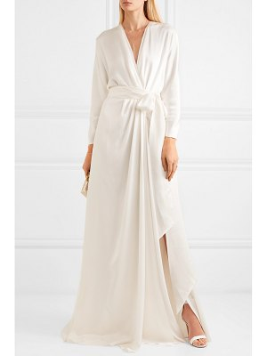 Jenny Packham aster satin-crepe wrap gown