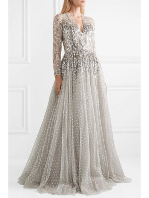 Jenny Packham blanche metallic sequined tulle gown