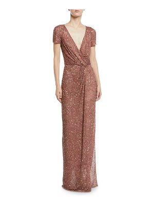 Jenny Packham Cap-Sleeve Knotted-Front Sparkle Wrap Column Gown