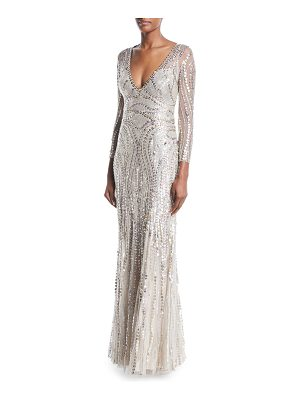 Jenny Packham Deep V-Neck Sequin Gown